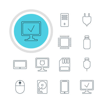 minicomputer: Vector Illustration Of 12 Computer Icons. Editable Pack Of Cursor Manipulator, Online Computer, Hard Drive Disk And Other Elements. Illustration
