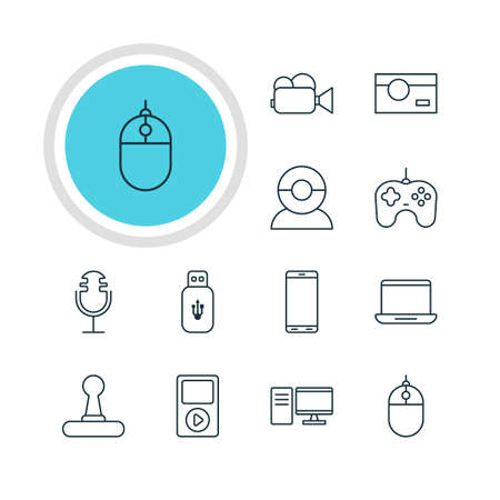 Vector Illustration Of 12 Hardware Icons. Editable Pack Of Photography, PC, Camcorder And Other Elements.
