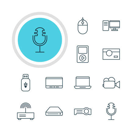 storage device: Vector Illustration Of 12 Gadget Icons. Editable Pack Of Photography, Computer, Usb Card And Other Elements.