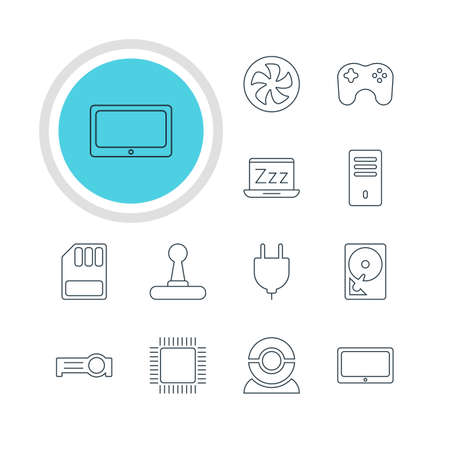 minicomputer: Vector Illustration Of 12 Laptop Icons. Editable Pack Of Microprocessor, Mainframe, Cooler And Other Elements.
