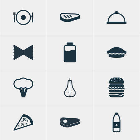 flan: Vector Illustration Of 12 Dish Icons. Editable Pack Of Flan, Drink Bottle, Pizzeria And Other Elements.