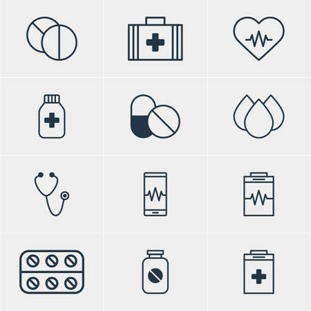 Vector Illustration Of 12 Medical Icons. Editable Pack Of Pulse, Pills, Round Tablet And Other Elements.