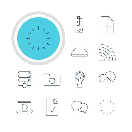 Vector Illustration Of 12 Network Icons. Editable Pack Of Waiting, Secure Laptop, Document Adding And Other Elements.