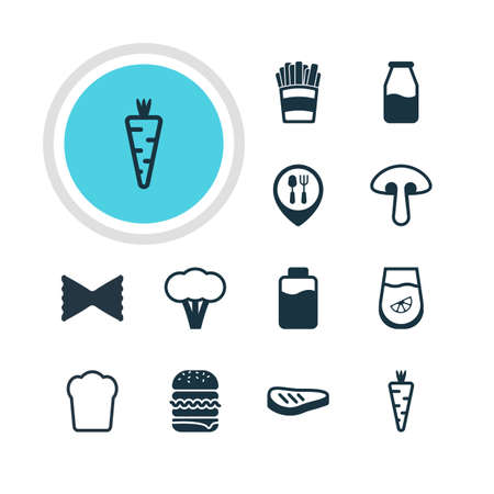 cruet: Vector Illustration Of 12 Food Icons. Editable Pack Of Cruet, Juice, Lactose And Other Elements.