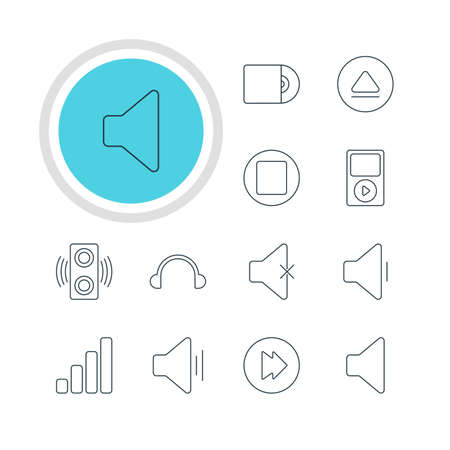 earpiece: Vector Illustration Of 12 Melody Icons. Editable Pack Of Pause, Earphone, Soundless And Other Elements.