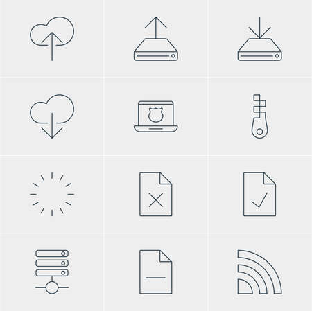 transmit: Vector Illustration Of 12 Network Icons. Editable Pack Of Data Upload, Cloud Download, Delete Data And Other Elements.