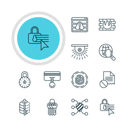 encode: Vector Illustration Of 12 Data Icons. Editable Pack Of Safeguard, Key Collection, Network Protection And Other Elements. Illustration