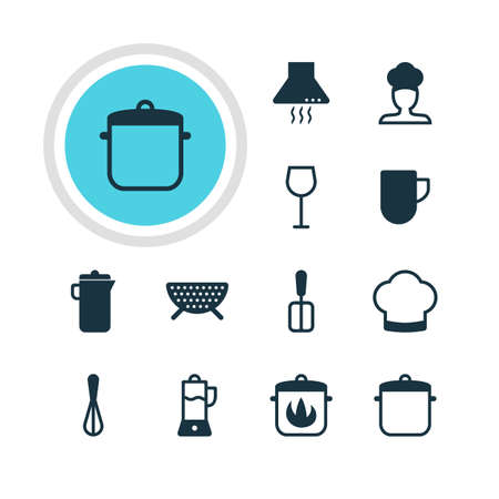 drainer: Vector Illustration Of 12 Kitchenware Icons. Editable Pack Of Wine, Stewpot, Corolla And Other Elements. Illustration