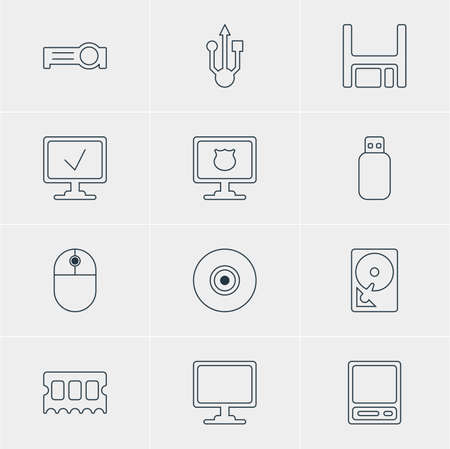 lcd: Vector Illustration Of 12 Notebook Icons. Editable Pack Of Online Computer, Memory Chip, Presentation And Other Elements. Illustration