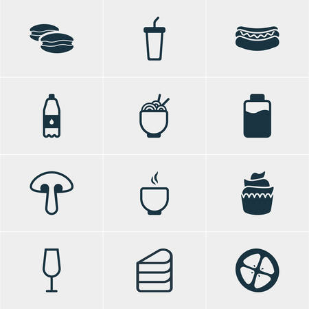 french culture: Vector Illustration Of 12 Cooking Icons. Editable Pack Of Love Apple, Drink Bottle, Lactose And Other Elements.