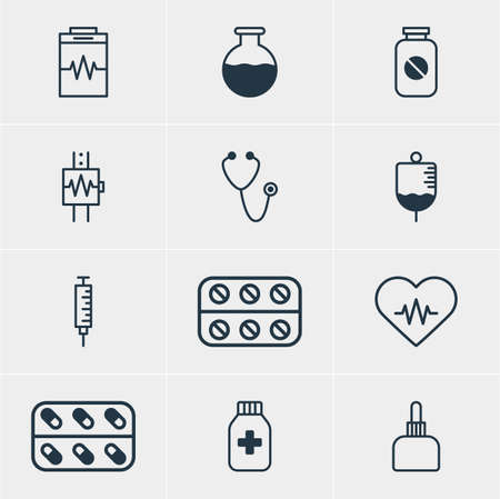 reflection of life: Vector Illustration Of 12 Medical Icons. Editable Pack Of Vaccinator, Pills, Medicament Pitcher And Other Elements.