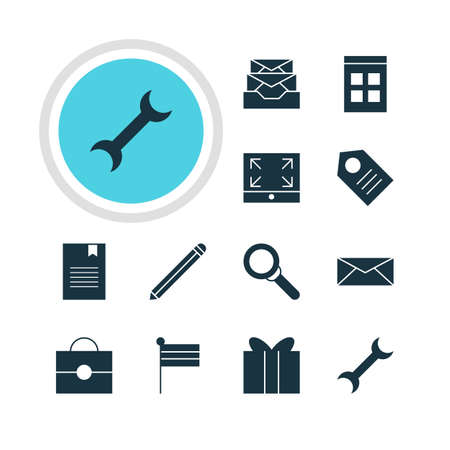 maximize: Illustration Of 12 Internet Icons. Editable Pack Of Coupon, Portfolio, Date Time And Other Elements.