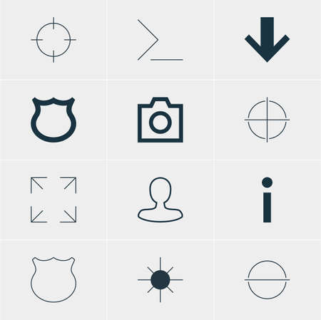 Vector Illustration Of 12 Interface Icons. Editable Pack Of Positive, Remove, Full Brightness And Other Elements.