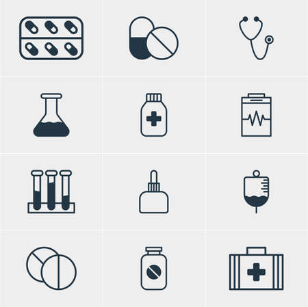 diastolic: Vector Illustration Of 12 Health Icons. Editable Pack Of Aspirin, Medical Bag, Treatment And Other Elements.