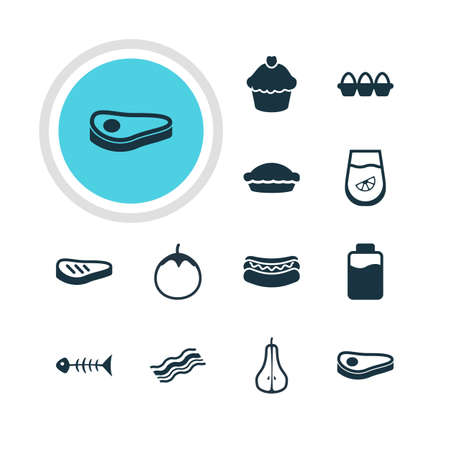 flan: Vector Illustration Of 12 Meal Icons. Editable Pack Of Beefsteak, Flan, Ham And Other Elements. Illustration
