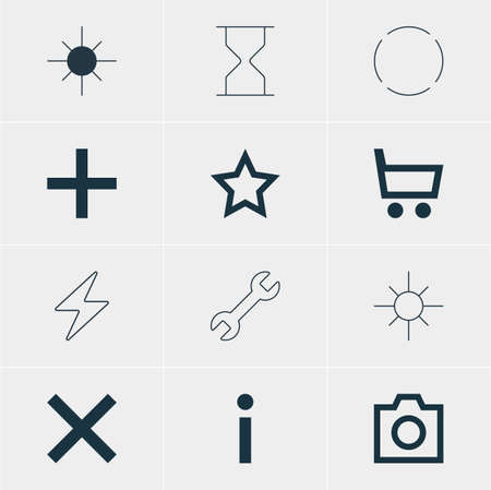brightness: Vector Illustration Of 12 Interface Icons. Editable Pack Of Full Brightness, Wrench, Bolt And Other Elements.