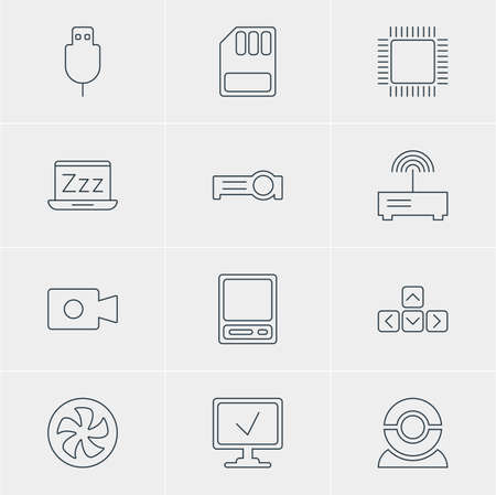 minicomputer: Vector Illustration Of 12 Notebook Icons. Editable Pack Of Microprocessor, Pda, Presentation And Other Elements.