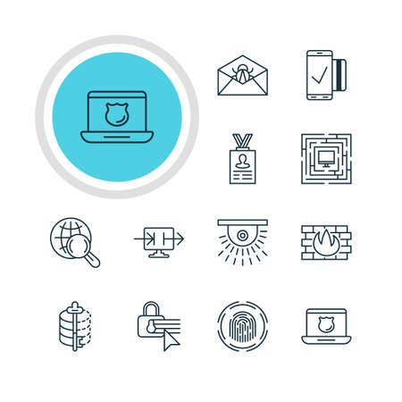 decode: Vector Illustration Of 12 Protection Icons. Editable Pack Of System Security, Account Data, Encoder And Other Elements. Illustration