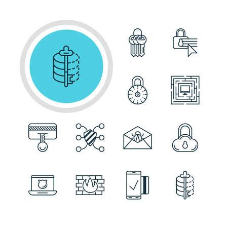valid: Vector Illustration Of 12 Web Safety Icons. Editable Pack Of Safe Lock, Encoder, Safe Storage And Other Elements. Illustration