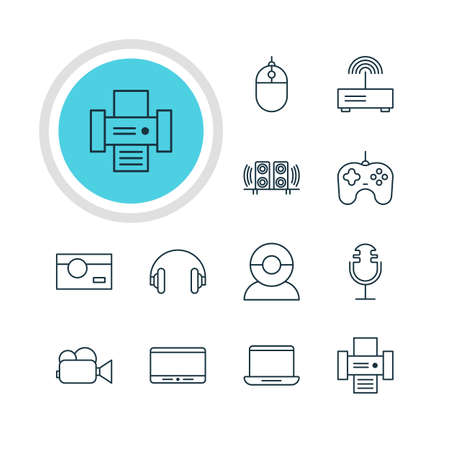 lcd: Vector Illustration Of 12 Device Icons. Editable Pack Of Monitor, Photography, Headset And Other Elements.