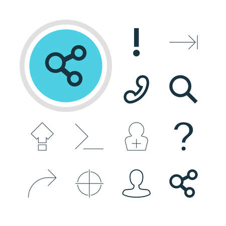 tabulation: Vector Illustration Of 12 Interface Icons. Editable Pack Of Positive, Displacement, Handset Elements.