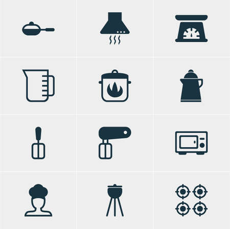 browning: Vector Illustration Of 12 Restaurant Icons. Editable Pack Of Extractor Appliance, Tea, Stewpot And Other Elements.
