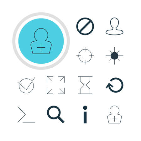 Vector Illustration Of 12 User Icons. Editable Pack Of Startup, Man Member, Screen Capture And Other Elements. Illustration