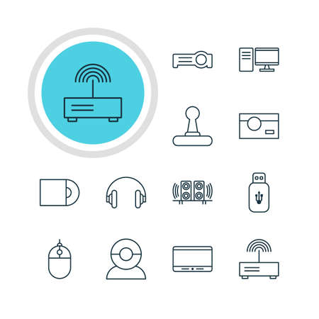 lcd: Vector Illustration Of 12 Accessory Icons. Editable Pack Of Monitor, Cursor Controller, Photography And Other Elements.