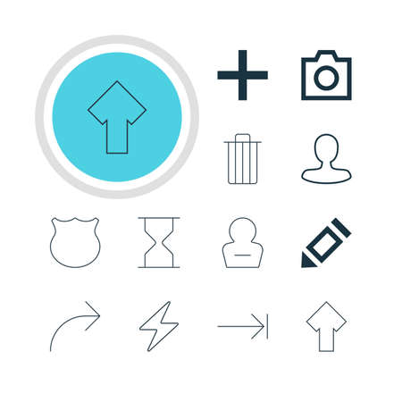 tabulation: Vector Illustration Of 12 Member Icons. Editable Pack Of Snapshot, Share, Upward And Other Elements. Illustration