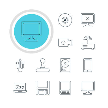 minicomputer: Vector Illustration Of 12 Computer Icons. Editable Pack Of Objective, Screen, Diskette And Other Elements.
