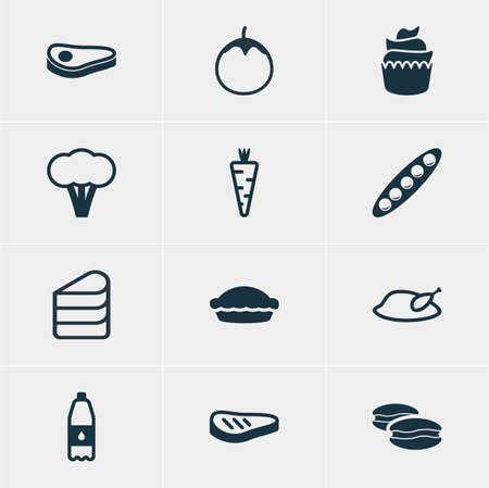 flan: Vector Illustration Of 12 Meal Icons. Editable Pack Of Dessert, Flan, Cotton And Other Elements.