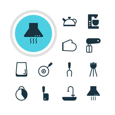 coking: Vector Illustration Of 12 Kitchenware Icons. Editable Pack Of Teakettle, Barbecue, Oven Mitts And Other Elements. Illustration