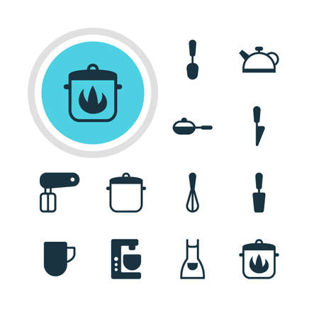 homemaker: Vector Illustration Of 12 Kitchenware Icons. Editable Pack Of Smock, Pan, Corolla And Other Elements.