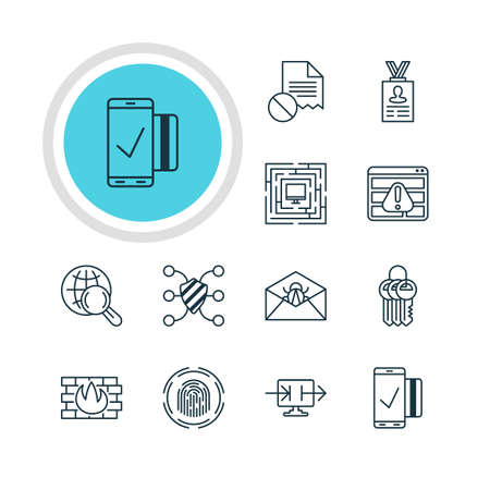 find fault: Vector Illustration Of 12 Data Icons. Editable Pack Of Data Error, Finger Identifier, Account Data And Other Elements. Illustration