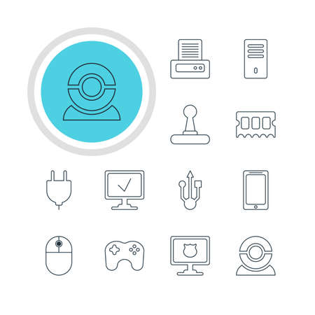 Vector Illustration Of 12 Laptop Icons. Editable Pack Of Usb Icon, Antivirus, Cursor Manipulator And Other Elements. Illustration