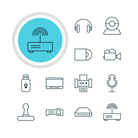 tv unit: Vector Illustration Of 12 Technology Icons. Editable Pack Of Game Controller, Floodlight, Usb Card And Other Elements.