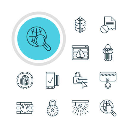 disallowed: Vector Illustration Of 12 Web Safety Icons. Editable Pack Of Internet Surfing, Encoder, Finger Identifier And Other Elements.