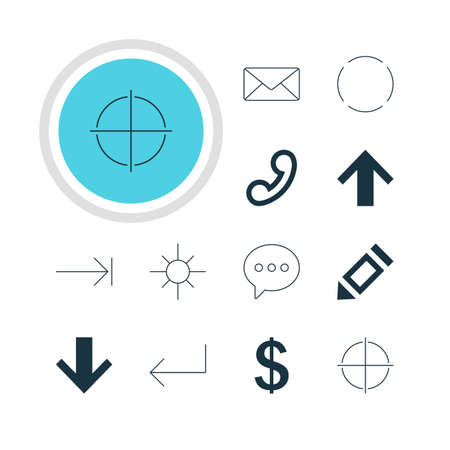 focalize: Vector Illustration Of 12 User Icons. Editable Pack Of Accsess, Pen, Message And Other Elements.