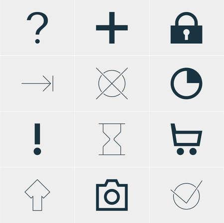 Ilustración vectorial de 12 iconos de interfaz. Pack editable de instantáneas, más, hacia arriba y otros elementos. Ilustración de vector