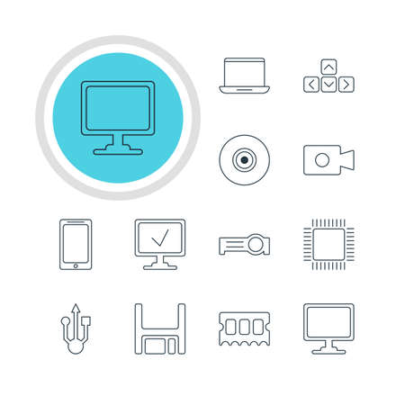 open notebook: Vector Illustration Of 12 Laptop Icons. Editable Pack Of Online Computer, Diskette, Microprocessor And Other Elements. Illustration
