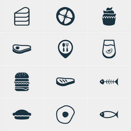 Vector Illustration Of 12 Cooking Icons. Editable Pack Of Seafood, Sandwich, Restaurant Elements.