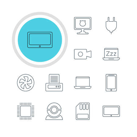 minicomputer: Vector Illustration Of 12 Laptop Icons. Editable Pack Of Antivirus, Printer, Microprocessor And Other Elements.