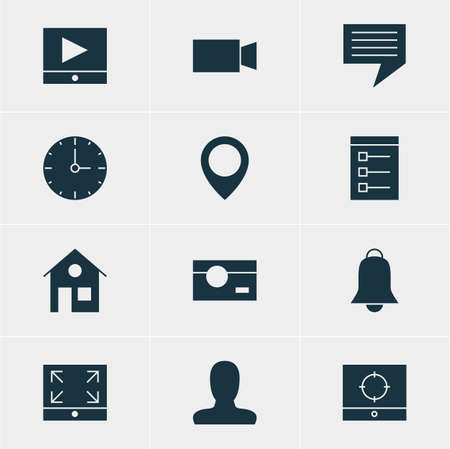 timezone: Vector Illustration Of 12 Online Icons. Editable Pack Of Capture, Notification, Map Pointer And Other Elements.