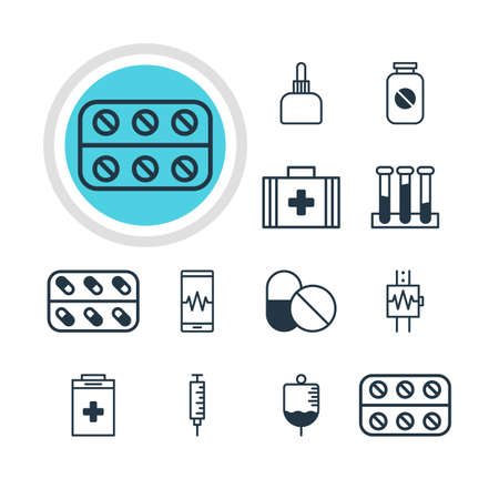 laboratory equipment: Vector Illustration Of 12 Health Icons. Editable Pack Of Exigency, Medicine, Antibody And Other Elements.
