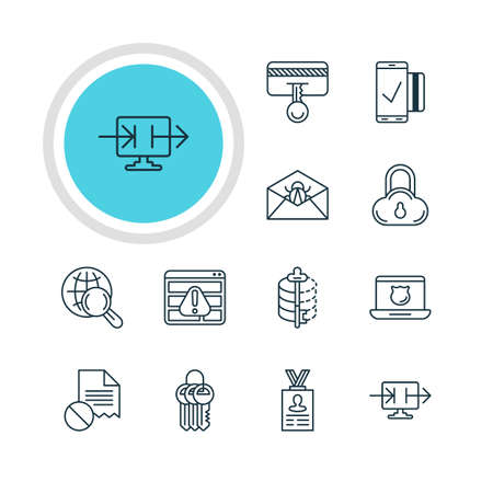 decode: Vector Illustration Of 12 Protection Icons. Editable Pack Of Encoder, Safety Key, Safe Storage And Other Elements. Illustration