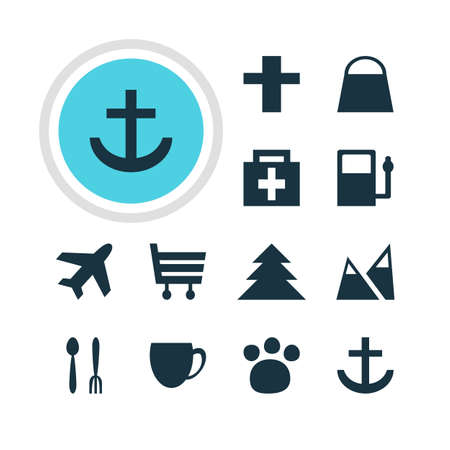 Vector Illustration Of 12 Location Icons. Editable Pack Of Cafe , Anchor, Landscape Elements. Ilustração