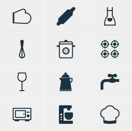 Vector Illustration Of 12 Cooking Icons. Editable Pack Of Wine, Oven Mitts, Furnace And Other Elements.