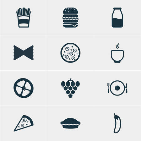cruet: Vector Illustration Of 12 Eating Icons. Editable Pack Of Sandwich, Cruet, Pizzeria Elements. Illustration