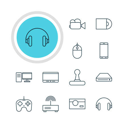 tv unit: Vector Illustration Of 12 Hardware Icons. Editable Pack Of Dvd Drive, Memory Storage, PC And Other Elements.
