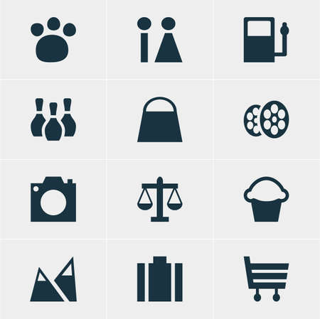 Vector Illustration Of 12 Map Icons. Editable Pack Of Film, Scales, Briefcase And Other Elements.